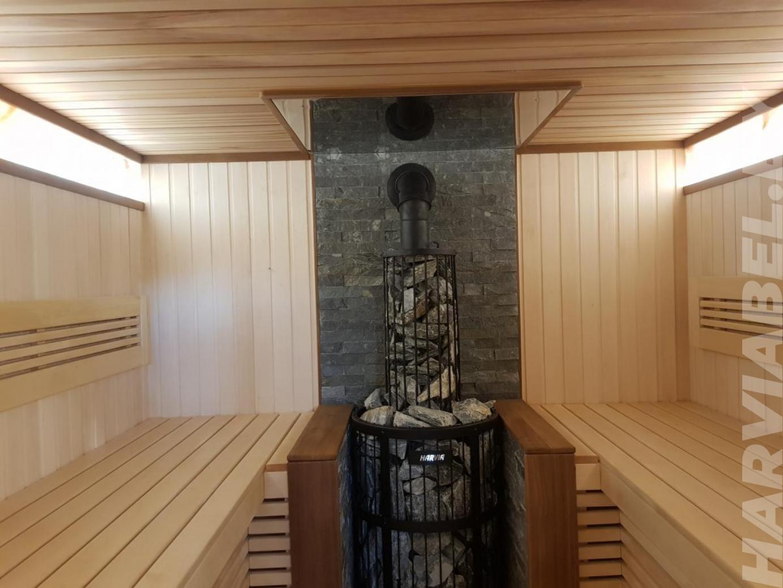 Парная из липы с дровяной печью Harvia Legend Duo