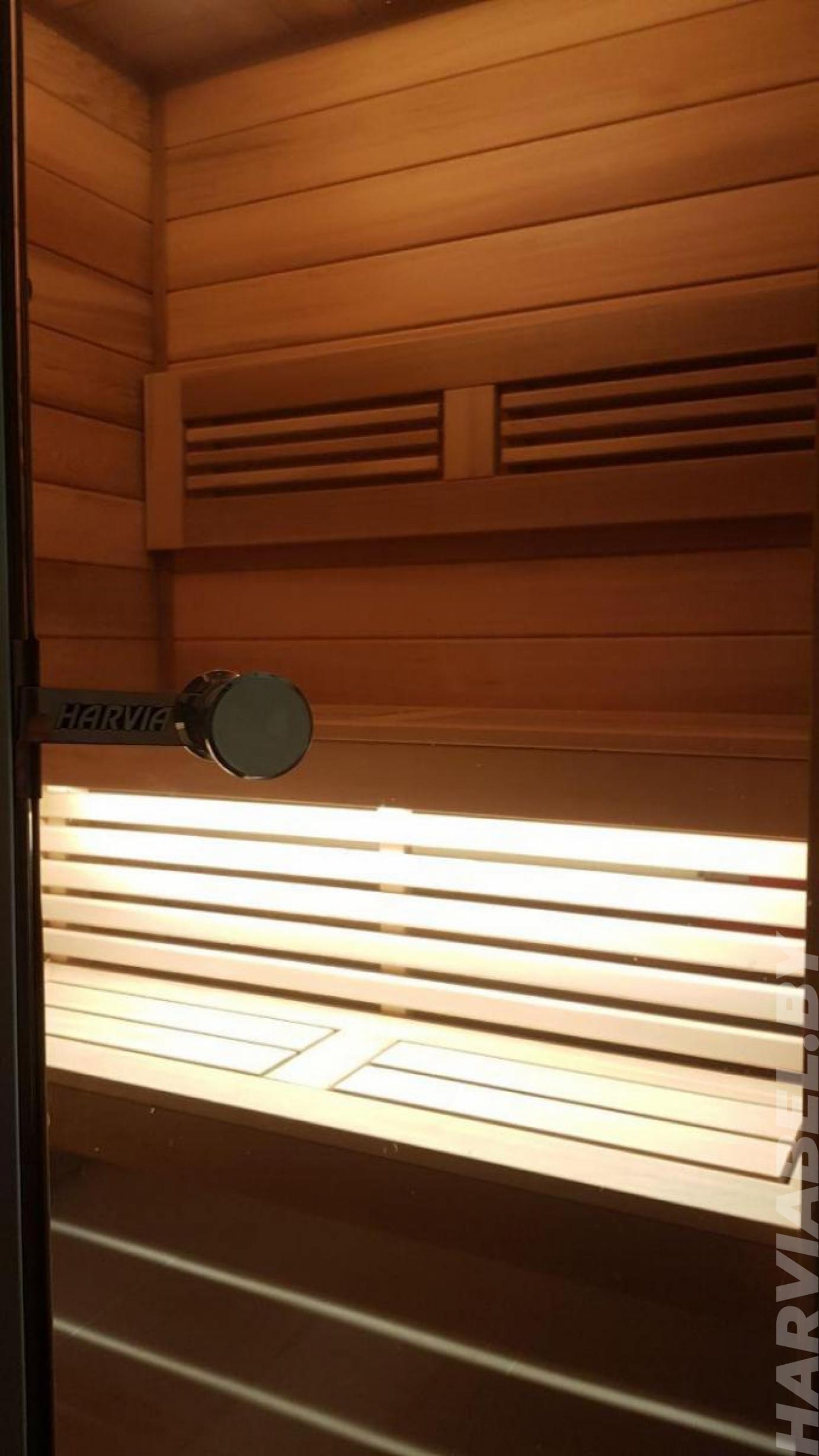 Отделка парной из канадского кедра премиум класса с подсветкой EOS