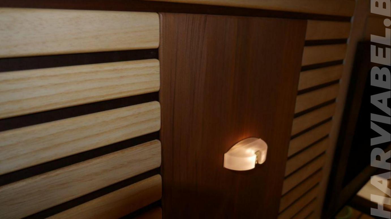 Парная из канадского кедра и абаши, подсветкой Cariitti, печью Harvia Modulo 135GSA